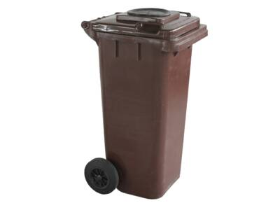 Trash bin 120 l with a hole for a bottle of 120l brown