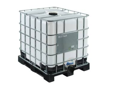 IBC 1000 l container with UN certificate on plastic pallet